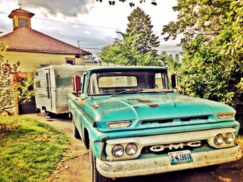 My old 1963 GMC (Phil) is pretty stoked to have a pretty little camper to pull.
