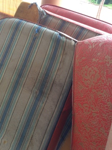 The sad, dilapidated state of Myrtle's 46 year old upholstery.