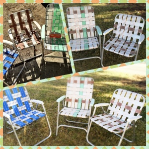 Since re-webbing these chairs, I've been lucky enough to find three more vintage lawn chairs in great shape, that closely match Myrtle's paint scheme. I can seat a crowd, now.