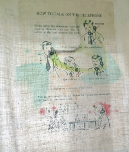 One of my favorite curtain transfers is a page from a 1950's telephone instruction-use manual...